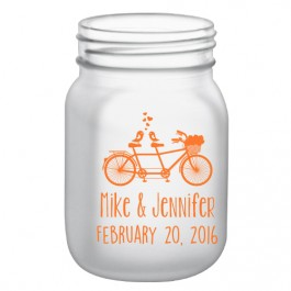 12oz BarConic® Frosted Mason Jar Mug with No Handle-Bicycle Design in Orange