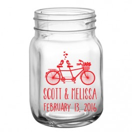 Custom 12oz BarConic® Mason Jar Mug with No Handle-Bicycle Design in Red