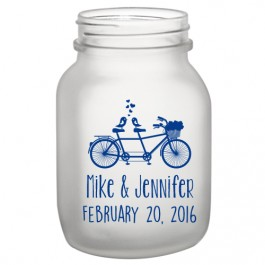 20oz BarConic® Frosted Mason Jar Mug with No Handle-Bicycle Design PMS Blue