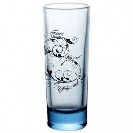 2oz Custom Tall Blue Shot Glass
