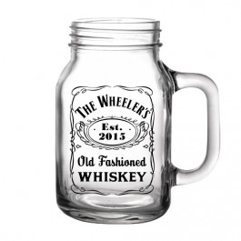 Printed 20oz BarConic® Mason Jar Mug-Whiskey Design in Black