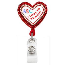 Bling Heart Plastic Badge Reel