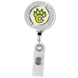 Chrome Rounded Dimpled Badge Reel with Alligator Clip