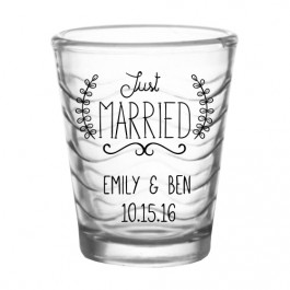 Custom Clear Waves Wedding Shot Glass