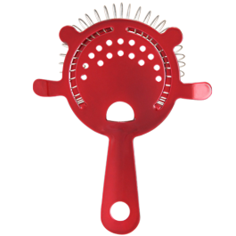 Candy Red Cocktail Strainer - 4 Prong