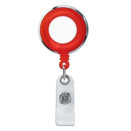 Red Translucent Plastic Badge Reel with Chrome Edges