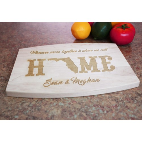 engraved maple wood cutting board with juice groove