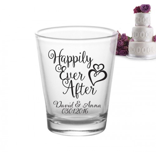 Wedding Shot Glasses: Happily Ever After Add Your Name Wedding Shot Glass Favors