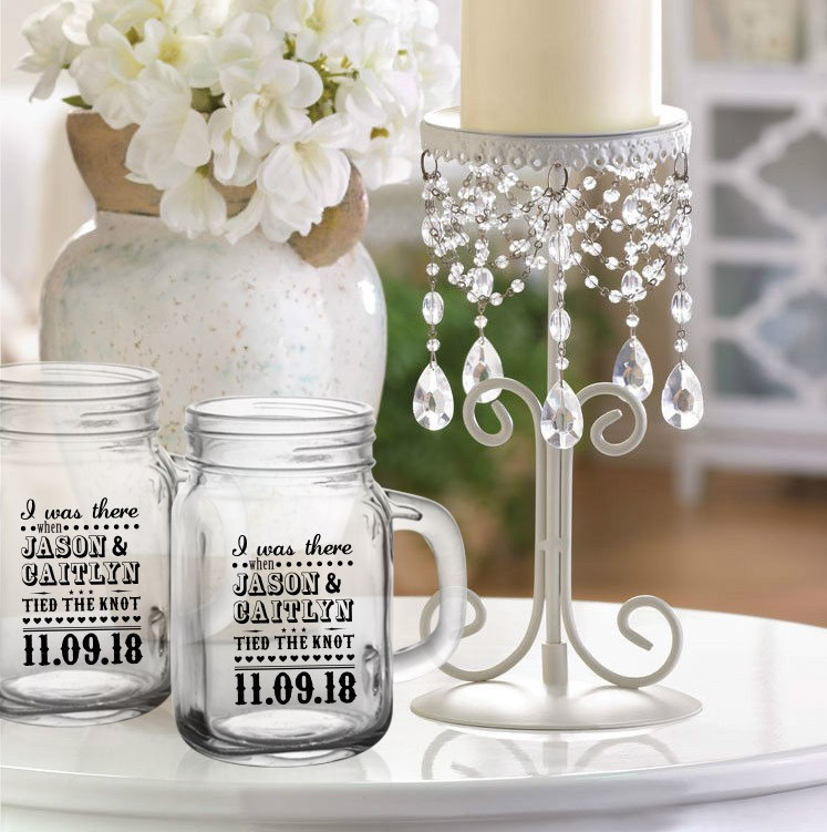Mason Jar Ideas For Weddings: I Was There Wedding Favor Mason Jar Drinking Glass