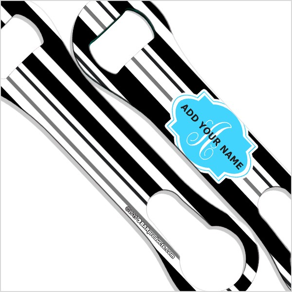 add your name v rod bottle opener monogram stripes background. Black Bedroom Furniture Sets. Home Design Ideas