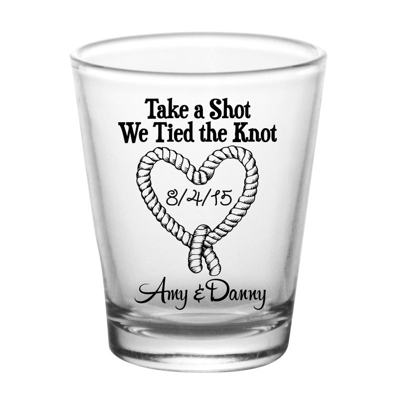 Wedding Shot Glasses.Add Your Name Tied The Knot Wedding Shot Glass