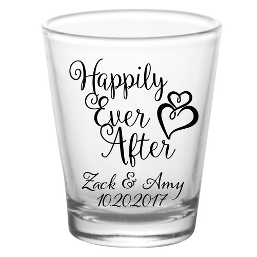 Wedding Shot Glasses.Happily Ever After Add Your Name Wedding Shot Glass Favors