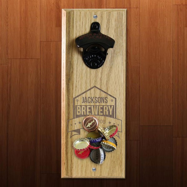 Brewery Themed Engraved Wooden Wall Bottle Opener With Magnetic Cap Catcher