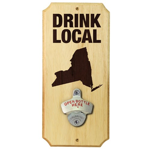 drink local wall mounted wood plaque bottle opener. Black Bedroom Furniture Sets. Home Design Ideas