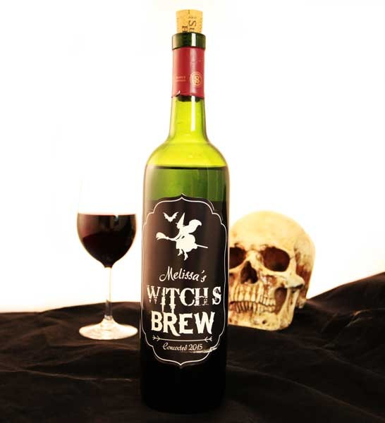 Add Your Name Halloween Themed Wine Label  WitchS Brew