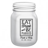12oz BarConic® Frosted Mason Jar Mug with No Handle+EDABM Design in Black