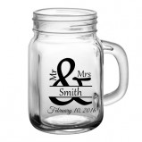 Add Your Name Mr & Mrs Wedding Mason Jar Glass