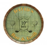 Add your name 19th Hole- Golf Barrel Top Tavern Sign