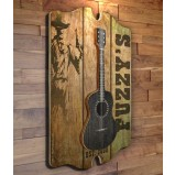 CUSTOMIZABLE 3D Wooden Guitar Tavern Sign - Country Theme