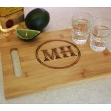 Custom Bamboo Cutting Board and Shot Glass Set