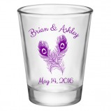 Add Your Name Peacock Wedding Shot Glass