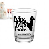 Add Your Name Mr Mrs Cute Silhouette Wedding Shot Glass