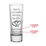CUSTOMIZABLE - 2oz Tall Clear Shot Glass - Cheers to Love, Laughter, and Happily Ever After