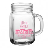 It's A Girl Add Your Name Baby Shower Mason Jar Glass