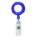 Blue Translucent Plastic Badge Reel with Chrome Edges