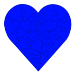 23 Piece Heart Shaped Puzzle - Blue