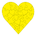 23 Piece Heart Shaped Puzzle - Yellow