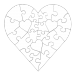 23 Piece Heart Shaped Puzzle - White