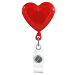 Red Heart Shaped Plastic Badge Reel