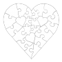 23 Piece Heart Shaped Puzzle - Assorted colors